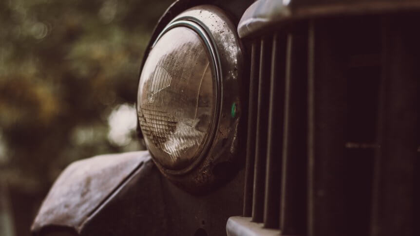 Picture of old car headlight